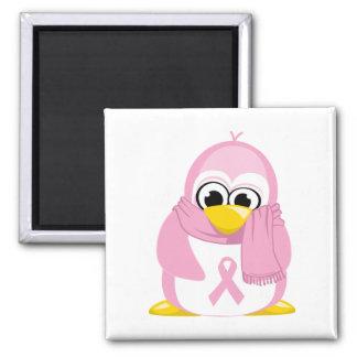 Pingüino del rosa del cáncer de pecho imán cuadrado