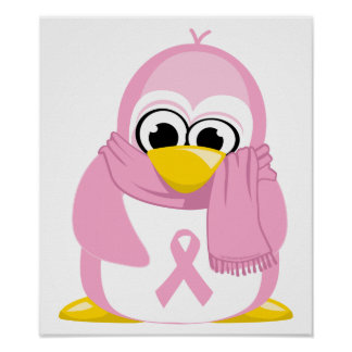 Pingüino del rosa del cáncer de pecho posters
