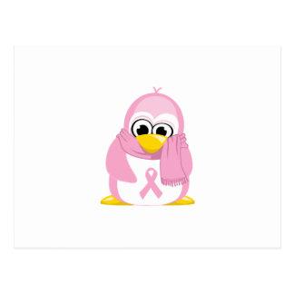 Pingüino del rosa del cáncer de pecho postal