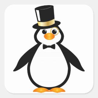 Pingüino del sombrero de copa colcomanias cuadradass