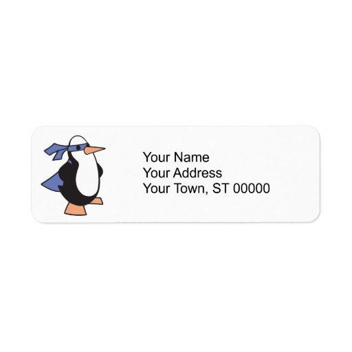 pingüino del superhéroe etiqueta de remitente