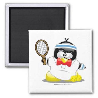 Pingüino del tenis imán cuadrado