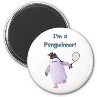 Pingüino del tenis imán redondo 5 cm