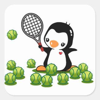 Pingüino del tenis pegatina cuadrada