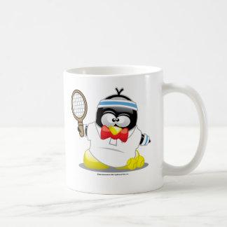 Pingüino del tenis taza