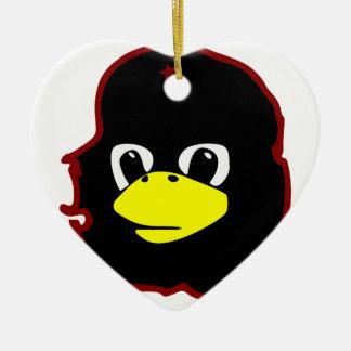 pingüino del tux del linux del guevara del che adorno navideño de cerámica en forma de corazón