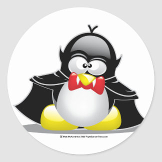 Pingüino del vampiro pegatina redonda