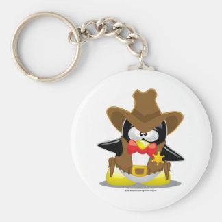 Pingüino del vaquero del sheriff llaveros personalizados