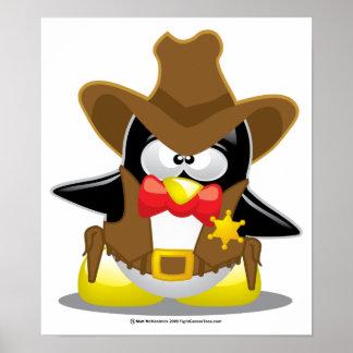 Pingüino del vaquero del sheriff póster