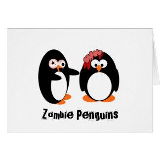 Pingüino del zombi tarjeta de felicitación