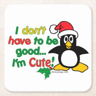¡Pingüino divertido del navidad soy lindo! Posavasos De Cartón Cuadrado