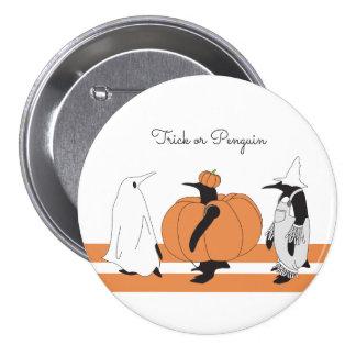 Pingüino divertido Halloween Pin Redondo De 3 Pulgadas