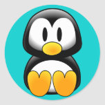 Pingüino divertido lindo del bebé pegatina redonda