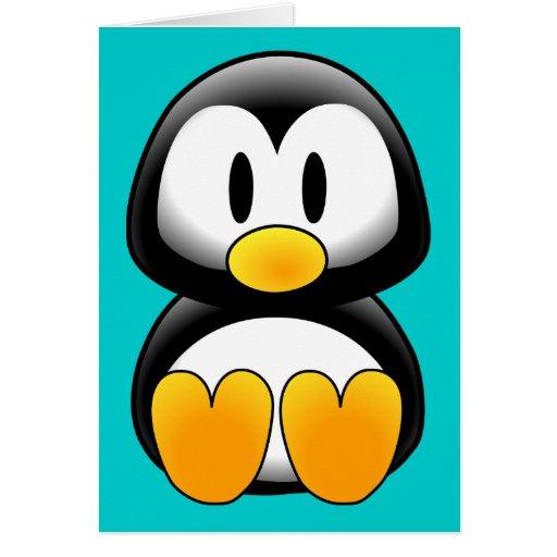 Pingüino divertido lindo del bebé tarjeta de felicitación