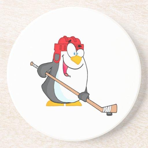 pingüino divertido que juega el dibujo animado del posavaso para bebida