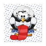 Pingüino dulce de la abuela del dibujo animado con lona envuelta para galerías