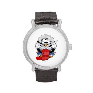 Pingüino dulce de la abuela del dibujo animado reloj de mano