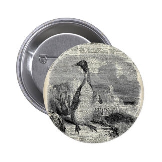 Pingüino en arte ártico del vintage pin redondo 5 cm