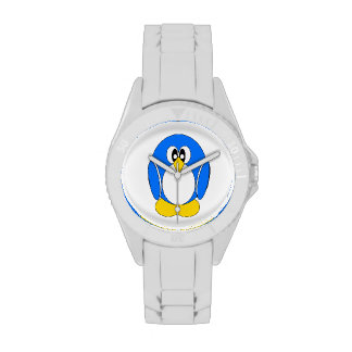 Pingüino en azul relojes de mano
