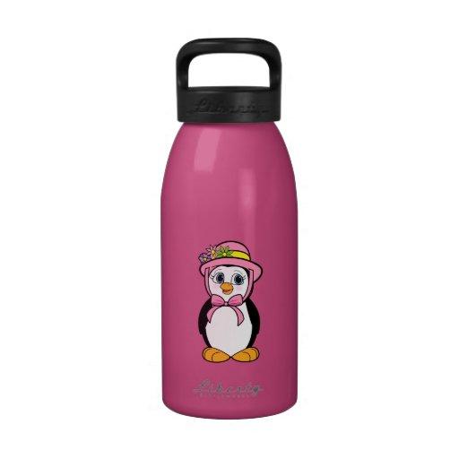 Pingüino en el capo de Pascua en rosa Botella De Agua Reutilizable