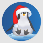 Pingüino en el gorra de Santa Etiqueta