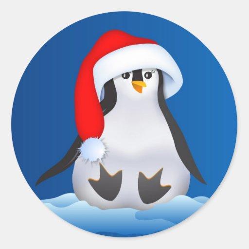 Pingüino en el gorra de Santa Etiqueta Redonda