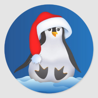 Pingüino en el gorra de Santa Pegatina Redonda