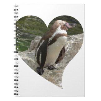 pingüino en forma del corazón libreta espiral
