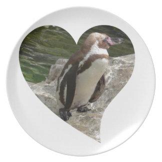 pingüino en forma del corazón platos de comidas