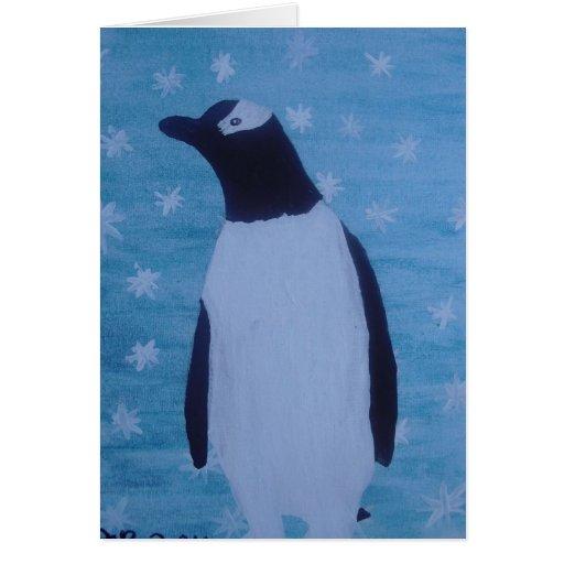 Pingüino en la nieve tarjeta de felicitación