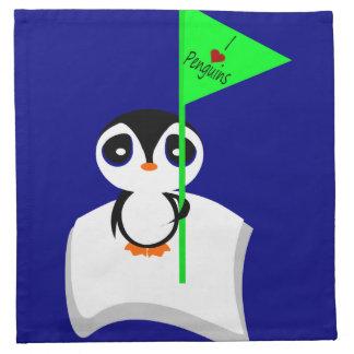 Pingüino en muestra de los pingüinos del corazón d servilleta imprimida