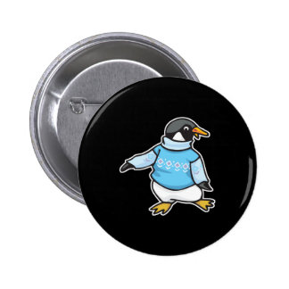 pingüino en suéter pin redondo 5 cm
