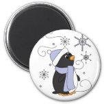 Pingüino en temor iman de nevera
