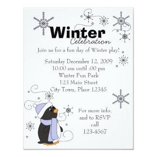 """Pingüino en temor invitación 4.25"""" x 5.5"""""""
