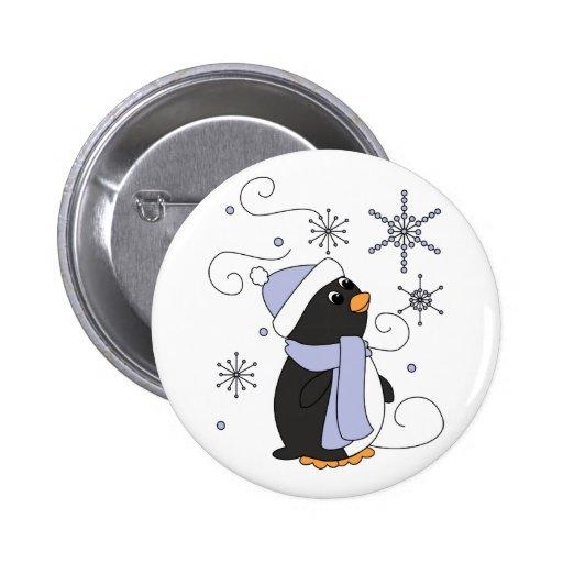 Pingüino en temor pin redondo de 2 pulgadas