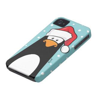 Pingüino en un gorra de Santa Carcasa Para iPhone 4 De Case-Mate
