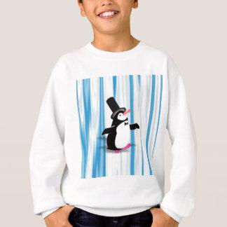 Pingüino encantador en la cortina azul sudadera