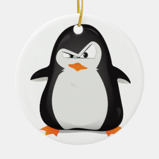 Pingüino enojado adorno redondo de cerámica