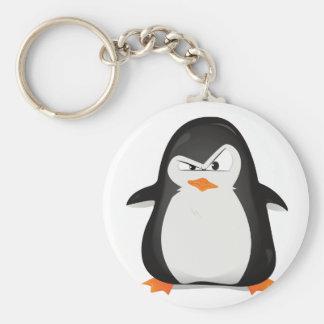 Pingüino enojado llavero redondo tipo pin