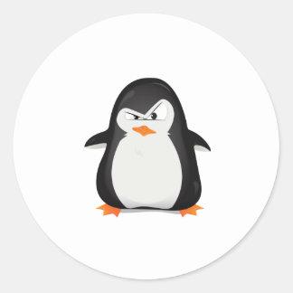 Pingüino enojado pegatina redonda