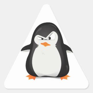 Pingüino enojado pegatina triangular