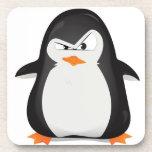 Pingüino enojado posavasos de bebidas