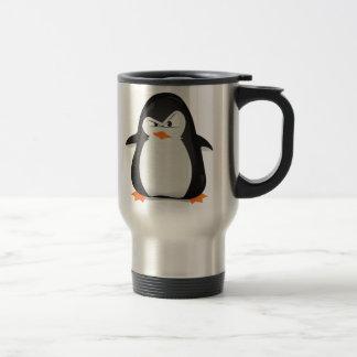 Pingüino enojado taza de viaje de acero inoxidable