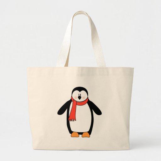 Pingüino envuelto en bufanda roja bolsas de mano