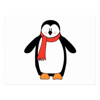 Pingüino envuelto en bufanda roja tarjetas postales
