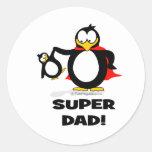 Pingüino estupendo del papá pegatina redonda