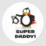 Pingüino estupendo del papá pegatinas redondas