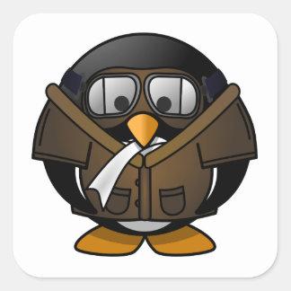Pingüino experimental pegatina cuadrada