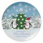Pingüino: Familia personalizada: Placa del navidad Plato