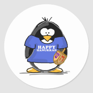 Pingüino feliz de Jánuca Pegatinas Redondas